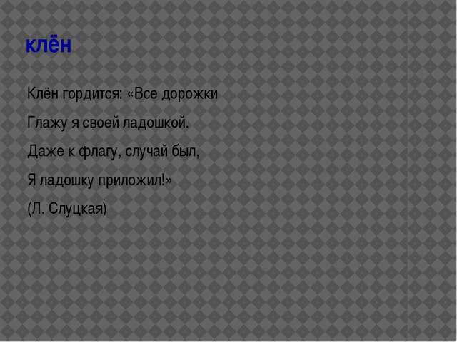 клён Клён гордится: «Все дорожки Глажу я своей ладошкой. Даже к флагу, случай...