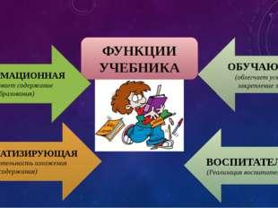 ФУНКЦИИ УЧЕБНИКА ИНФОРМАЦИОННАЯ (раскрывает содержание образования) СИСТЕМАТИ