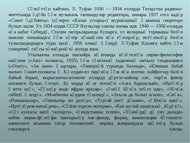 Сәяхәттән кайткач, X. Туфан 1930 — 1934 елларда Татарстан радиоко-митетында...