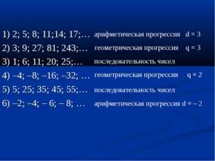 1) 2; 5; 8; 11;14; 17;… 2) 3; 9; 27; 81; 243;… 3) 1; 6; 11; 20; 25;… 4) –4; –