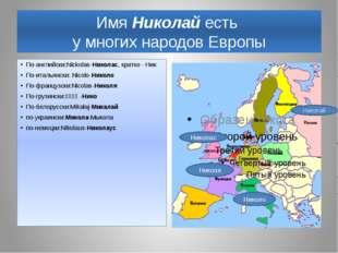 Имя Николай есть у многих народов Европы По-английски:Nickolas-Николас, кратк