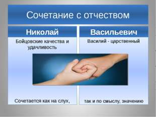 Сочетание с отчеством Николай Бойцовские качества и удачливость Сочетается ка
