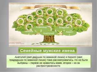 Семейные мужские имена Анатолий (имя дедушки по маминой линии) и Кирилл (имя