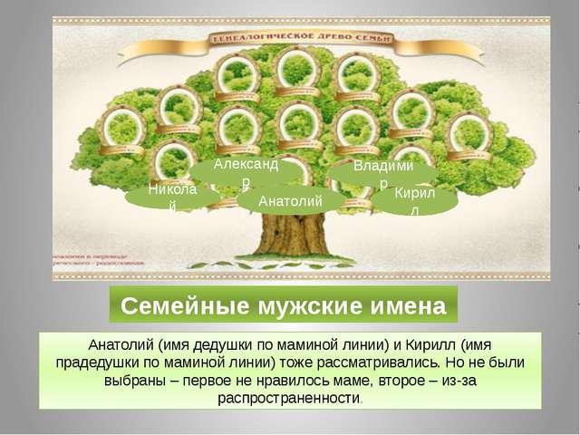 Семейные мужские имена Анатолий (имя дедушки по маминой линии) и Кирилл (имя...