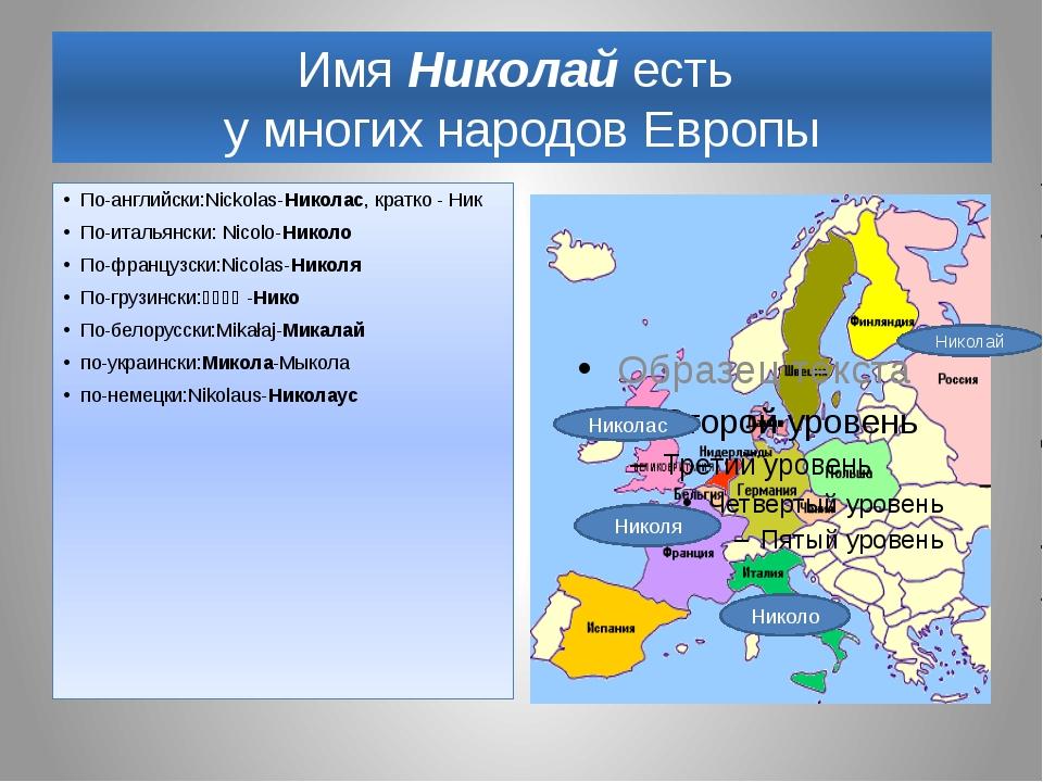 Имя Николай есть у многих народов Европы По-английски:Nickolas-Николас, кратк...