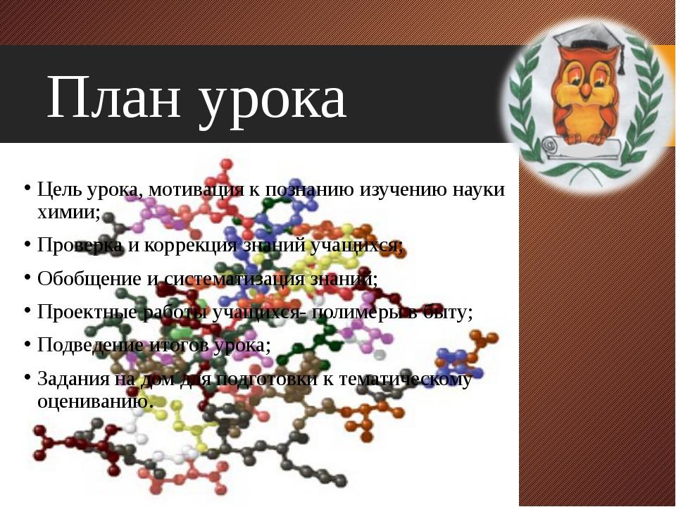 План урока Цель урока, мотивация к познанию изучению науки химии; Проверка и...