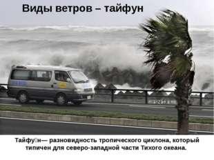 Виды ветров – тайфун Тайфу́н— разновидность тропического циклона, который тип