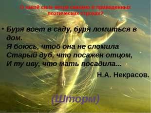 О какой силе ветра сказано в приведенных поэтических строках? Буря воет в сад