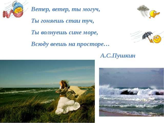Ветер, ветер, ты могуч, Ты гоняешь стаи туч, Ты волнуешь сине море, Всюду ве...