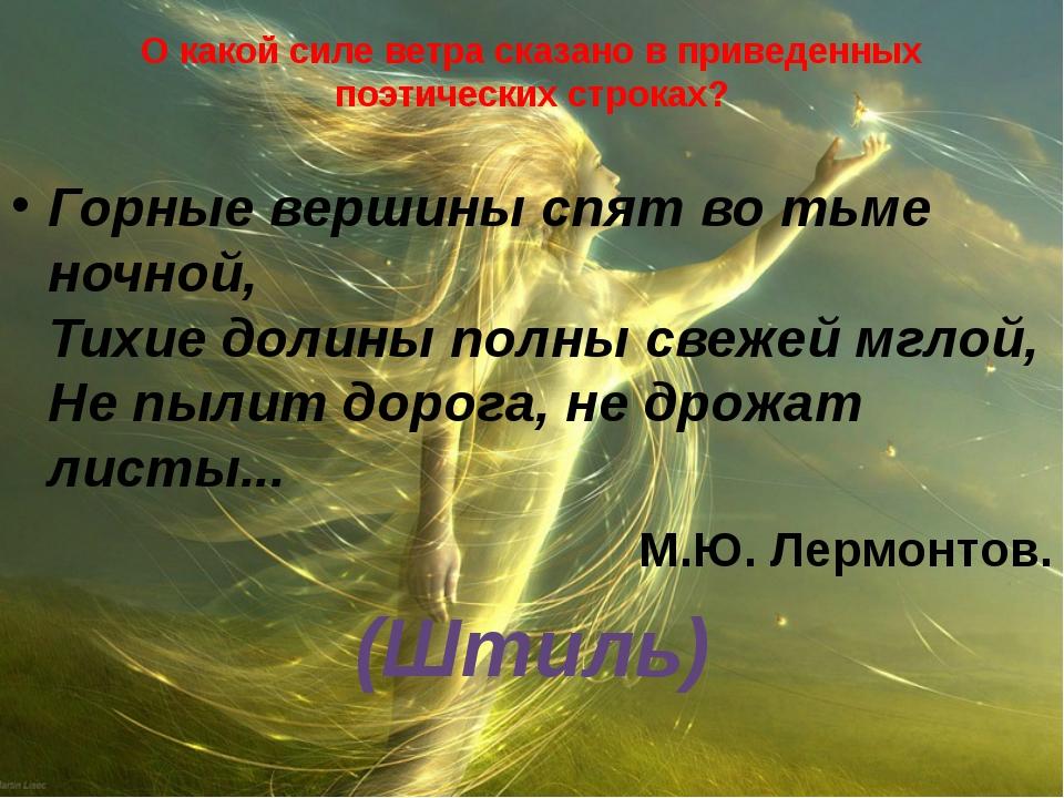 О какой силе ветра сказано в приведенных поэтических строках? Горные вершины...