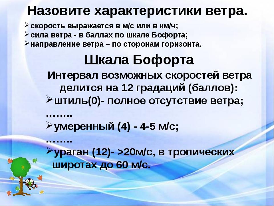 Назовите характеристики ветра. скорость выражается в м/с или в км/ч; сила вет...