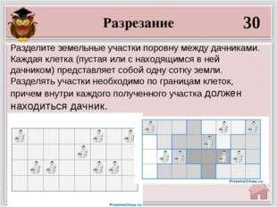 Разрезание 30 Разделите земельные участки поровну между дачниками. Каждая кле