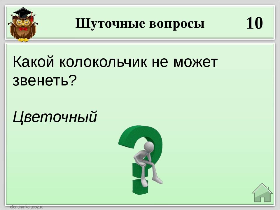 Шуточные вопросы 10 Цветочный Какой колокольчик не может звенеть?