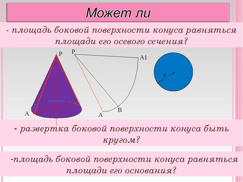 площадь боковой поверхности конуса равняться площади его основания? - площадь...