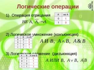 Логические операции Операция отрицания 2) Логическое умножение (конъюнкция) 3