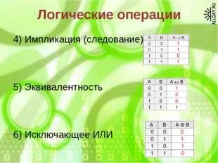Логические операции 4) Импликация (следование) 5) Эквивалентность 6) Исключаю