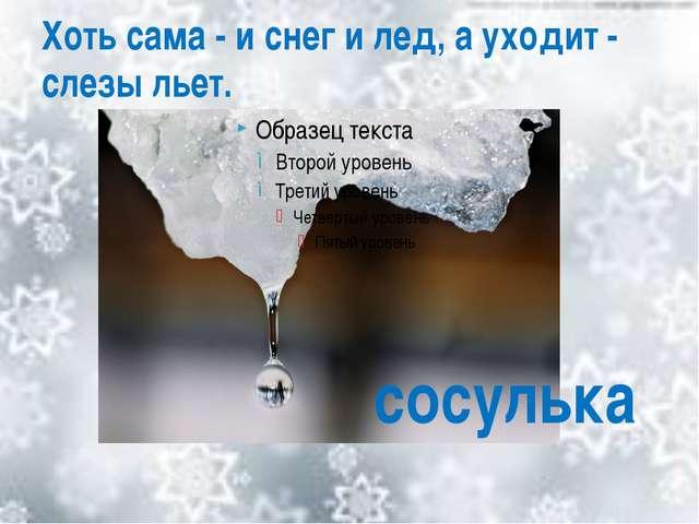 Хоть сама - и снег и лед, а уходит - слезы льет. сосулька
