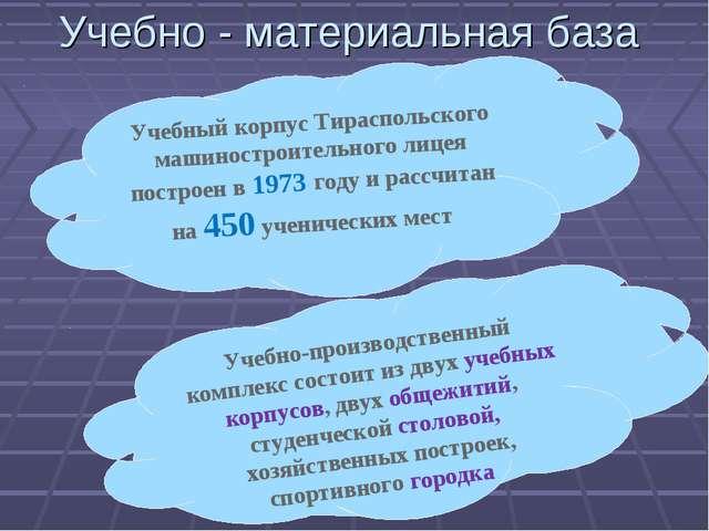 Учебно - материальная база Учебный корпус Тираспольского машиностроительного...