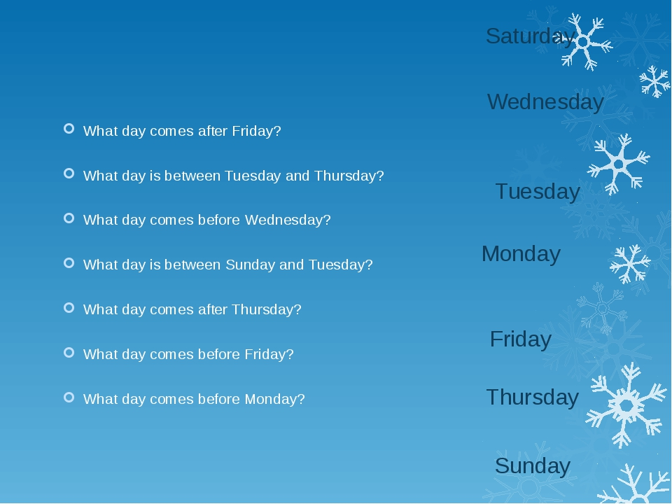What day comes after Friday? What day is between Tuesday and Thursday? What d...