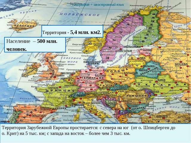 Зарубежная Европа  География + иностранный язык Население – 500 млн. челов...