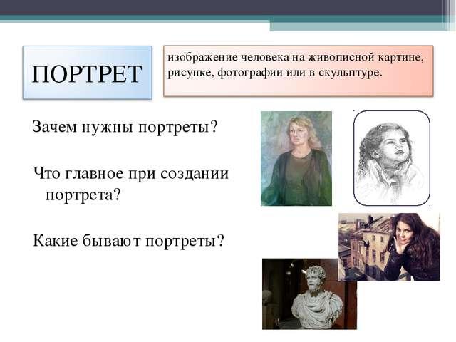 Зачем нужны портреты? Что главное при создании портрета? Какие бывают портреты?
