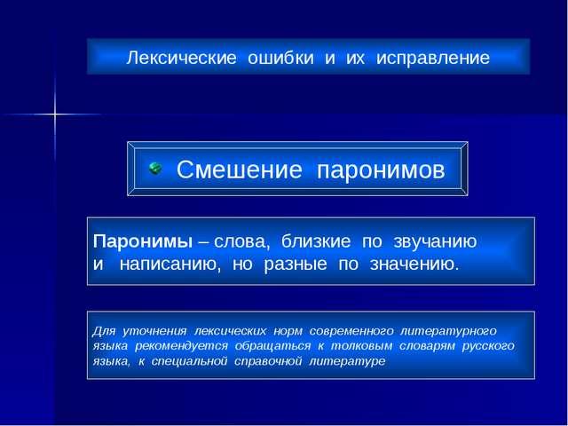 Лексические ошибки и их исправление Смешение паронимов Паронимы – слова, близ...