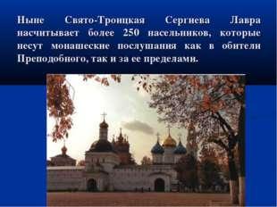 Ныне Свято-Троицкая Сергиева Лавра насчитывает более 250 насельников, которые