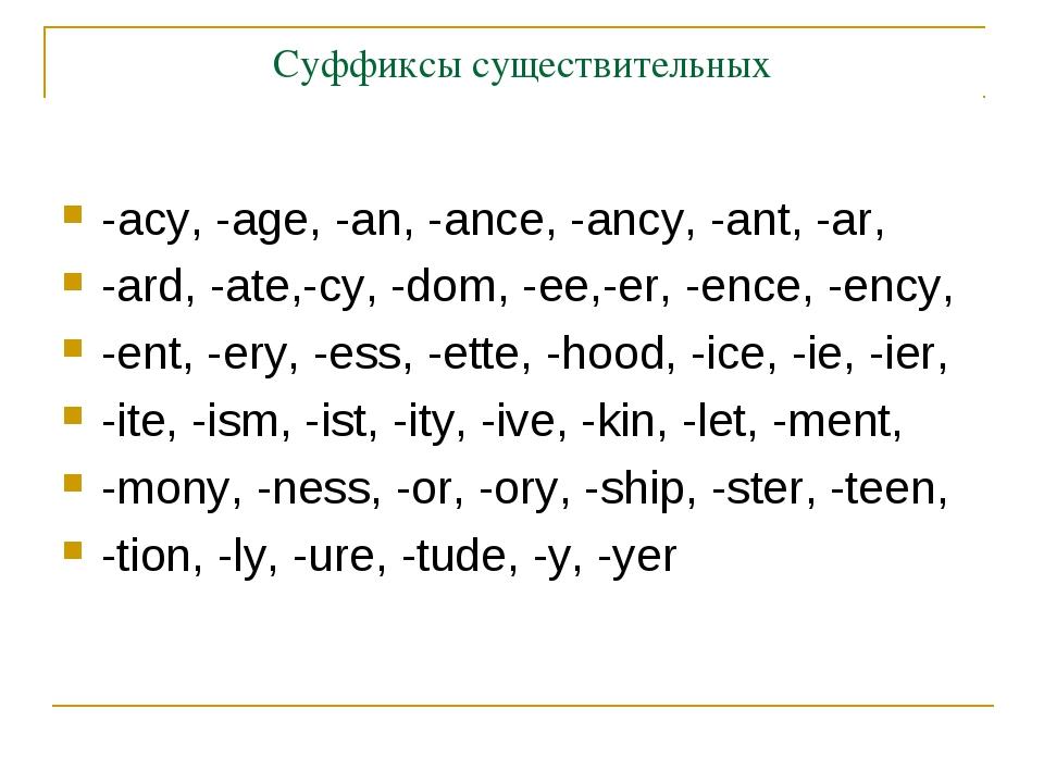 Суффиксы существительных -acy, -age, -an, -ance, -ancy, -ant, -ar, -ard, -ate...