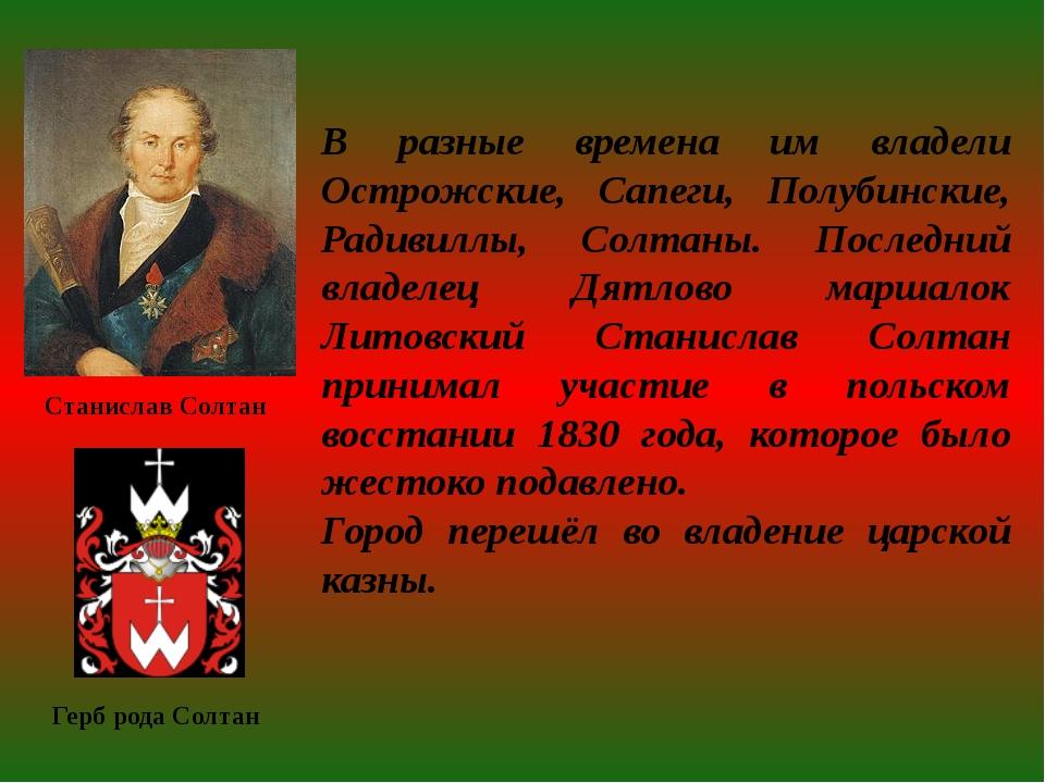 В разные времена им владели Острожские, Сапеги, Полубинские, Радивиллы, Солта...