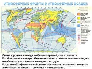 Линия фронтов никогда не бывает прямой, она извилиста. Изгибы линии к северу