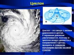 Циклон Циклон – это вихрь с низким давлением в центре. К окраинам давление ув