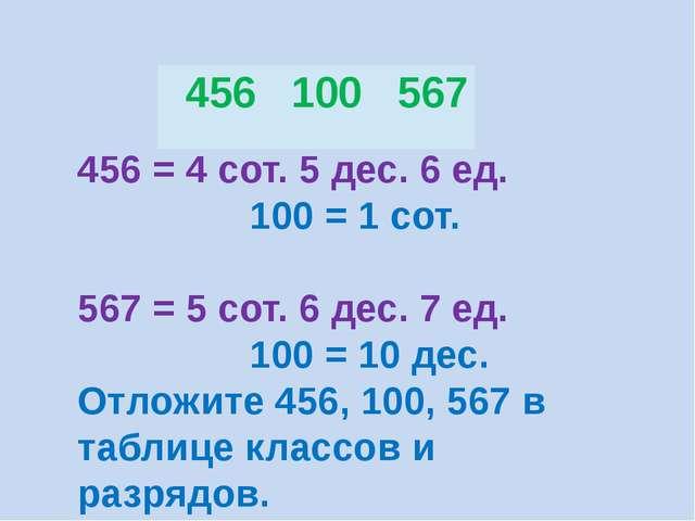 456 = 4 сот. 5 дес. 6 ед. 100 = 1 сот. 567 = 5 сот. 6 дес. 7 ед. 100 = 10 дес...