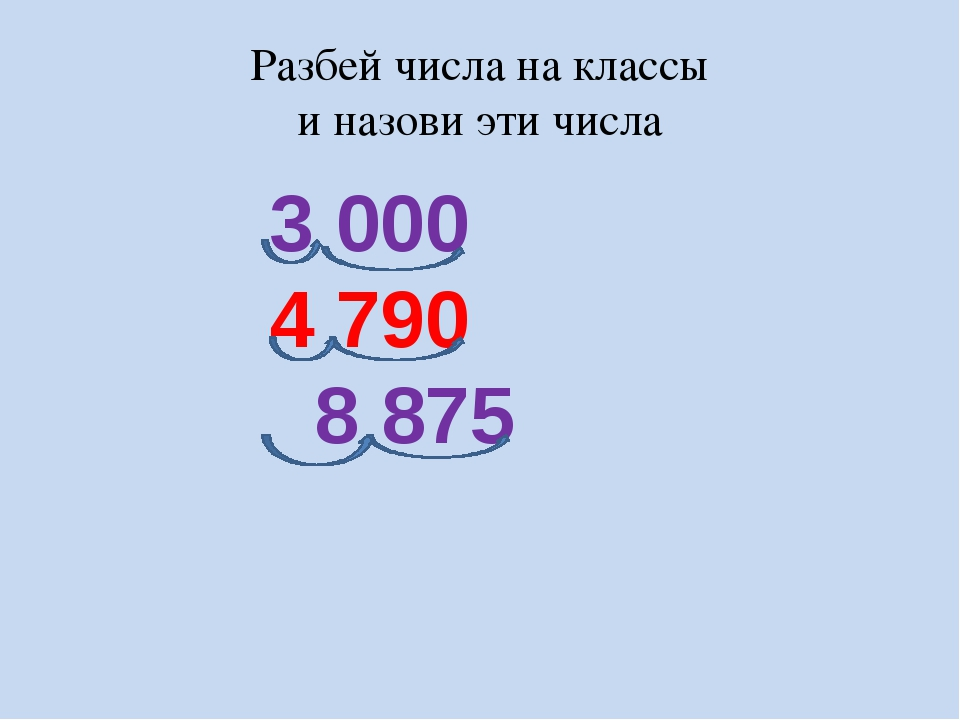 3 000 4 790 8 875 Разбей числа на классы и назови эти числа