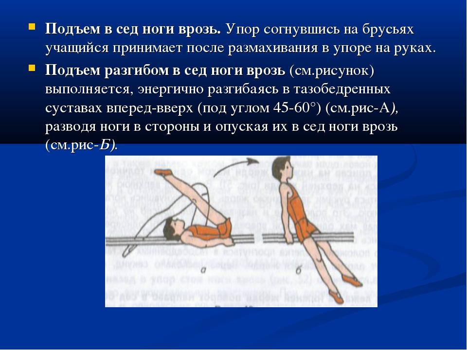 Подъем в сед ноги врозь. Упор согнувшись на брусьях учащийся принимает после...