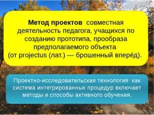 Метод проектов совместная деятельность педагога, учащихся по созданию прототи