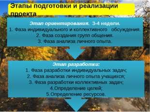 « Этапы подготовки и реализации проекта Этап ориентирования. 3-4 недели. 1. Ф