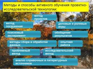 Методы и способы активного обучения проектно-исследовательской технологии: ме