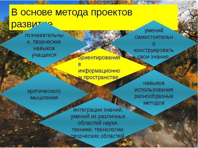 В основе метода проектов развитие « познавательных, творческих навыков учащих...