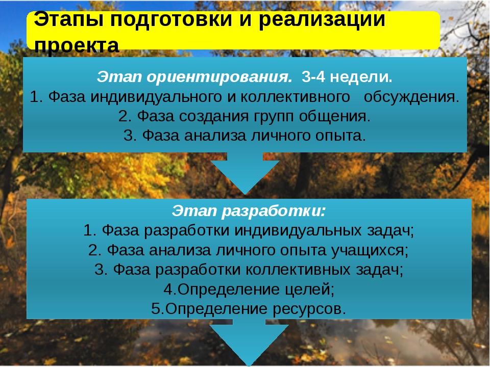 « Этапы подготовки и реализации проекта Этап ориентирования. 3-4 недели. 1. Ф...