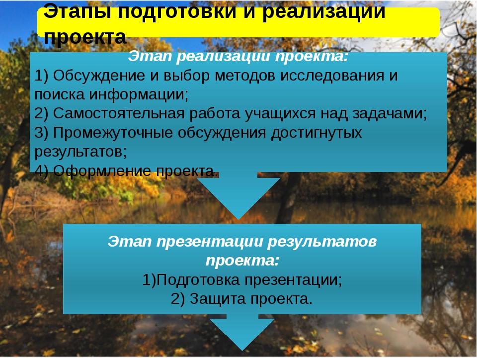 « Этапы подготовки и реализации проекта Этап реализации проекта: 1) Обсуждени...