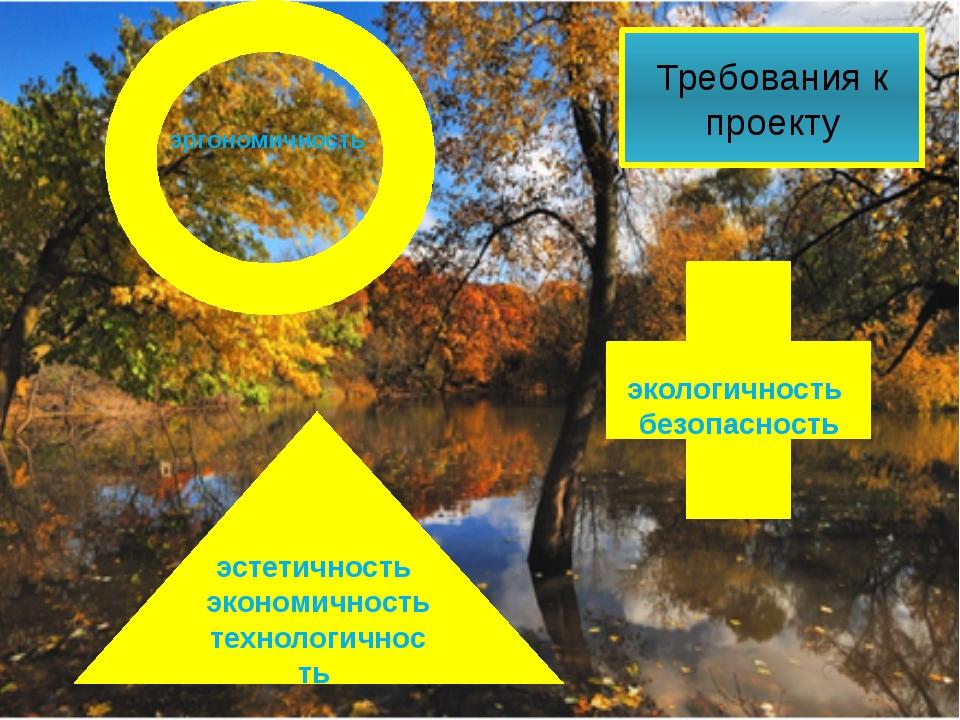 эргономичность Требования к проекту эстетичность экономичность технологичност...
