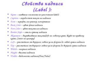 Свойства надписи (Label ): Name – название элемента по умолчанию label1 Capti