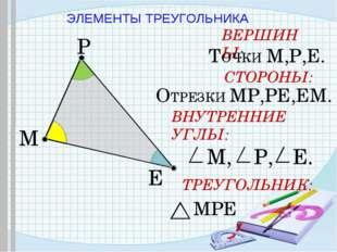 ЭЛЕМЕНТЫ ТРЕУГОЛЬНИКА M P E ВЕРШИНЫ: ТОЧКИ М,Р,Е. СТОРОНЫ: ОТРЕЗКИ МР,РЕ,ЕМ.