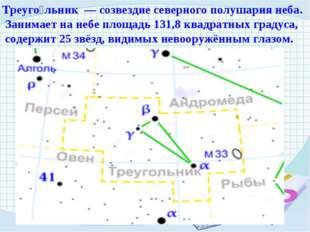 Треуго́льник — созвездие северного полушария неба. Занимает на небе площадь 1