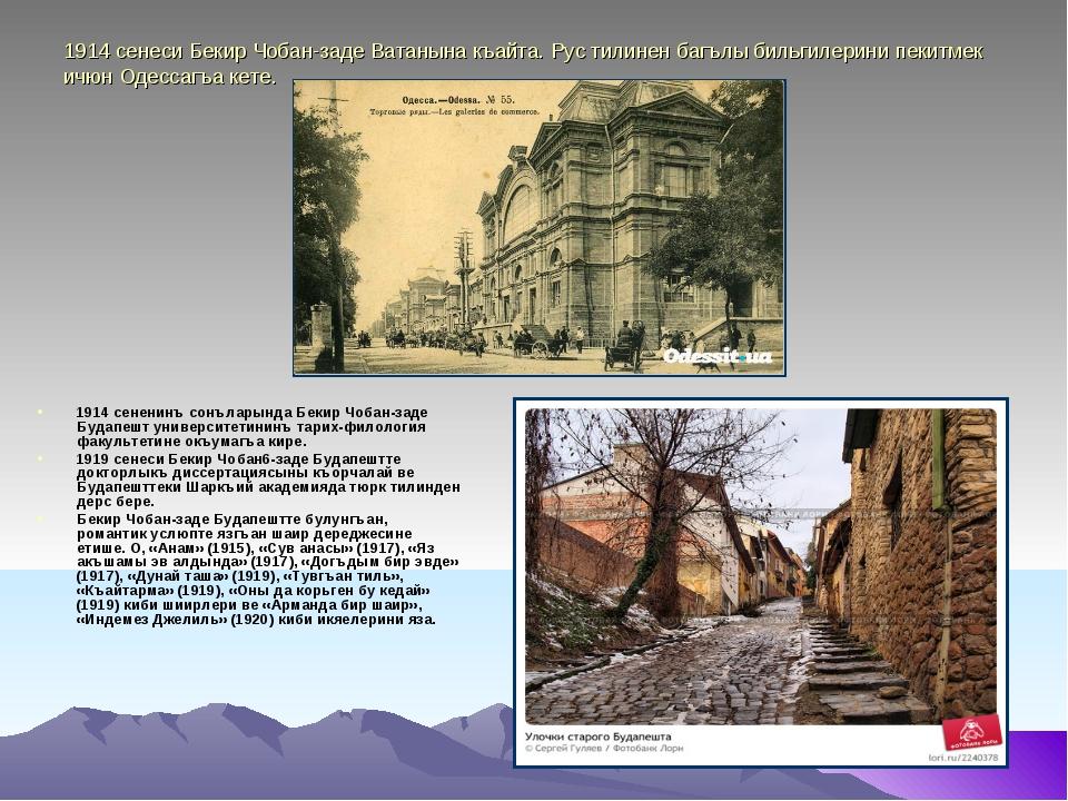 1914 сенеси Бекир Чобан-заде Ватанына къайта. Рус тилинен багълы бильгилерини...