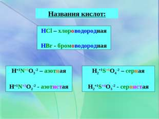 Названия кислот: HCl – хлороводородная HBr - бромоводородная H+1N+5O3-2 – азо