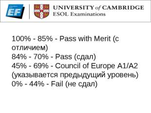 100% - 85% - Pass with Merit (с отличием) 84% - 70% - Pass (сдал) 45% - 69% -