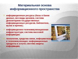 Материальная основа информационного пространства информационные ресурсы (базы