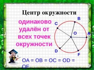 Центр окружности одинаково удалён от всех точек окружности О A B С D F ОA = О