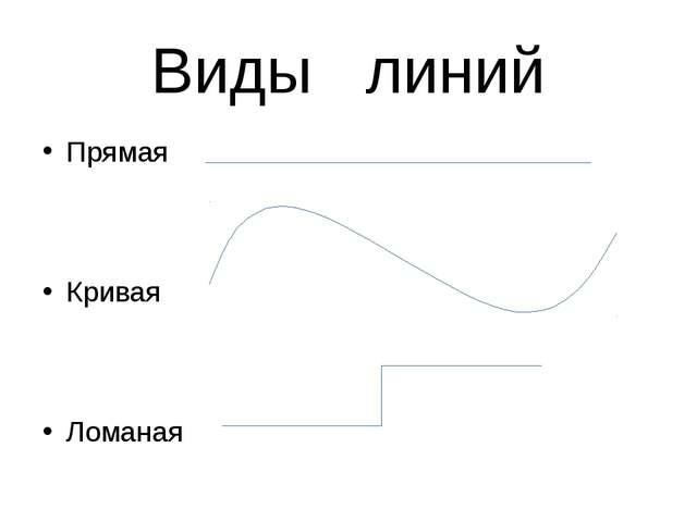Виды линий Прямая Кривая Ломаная